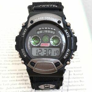 美品★ COLEMAN メンズ デジタル 多機能 腕時計 ★ コールマン アラーム クロノ 稼動品 F2704