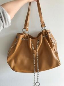ショルダーバッグ ハンドバッグ カバン 鞄 キャメル 茶色 チェーン トートバッグ かばん レディース 大きめ