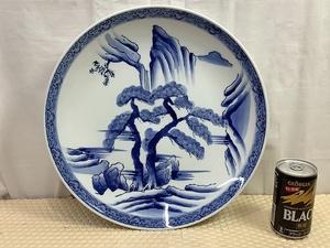有田焼 大皿 峯山作 染付 山水紋 飾り皿 盛皿 検 工芸 陶芸 陶磁 コレクション インテリア