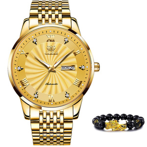 Olevs男性機械式時計トップブランドの高級腕時計自動スポーツステンレス鋼防水時計男性レロジオmasculino 6530