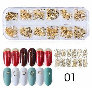 ネイルパーツ メタルフレームゴールド 12種類の小さなパーツ