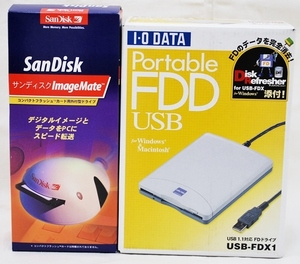 【ジャンク】IOデータ ポータブルFDD USB-FDX1 / サンディスク コンパクトフラッシュカード用外付型ドライブ 動作未確認