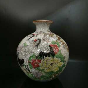 中国古美術 民国時代 景德鎮 花入 鶴と花図 大清乾隆年製款 古美術 時代物 旧家藏出