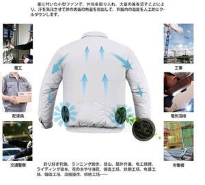 MIDIAN 空調作業服 空調風神服 ファン バッテリー セット 熱中症対策 長袖 ブルゾン 綿 2019年新型空調服作業着サイズ選択S-4XL A181