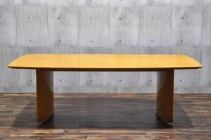 K12X 展示品 松創 バーズアイメープル 特大 220cm ダイニングテーブル IDC大塚家具 デコ 130万 最高級 鳥目杢 食卓机 ミーティングテーブル