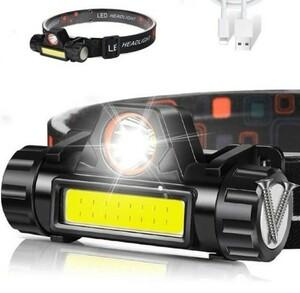 ♪90°回転LED♪ヘッドライトランプUSB充電式屋外キャンプサイクリング