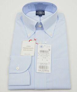 ●定番J.PRESS長袖ボタンダウンシャツ(37-82,白サックスストライプ,HW0041,プレミアムプリーツ(形態安定),日本製)新品