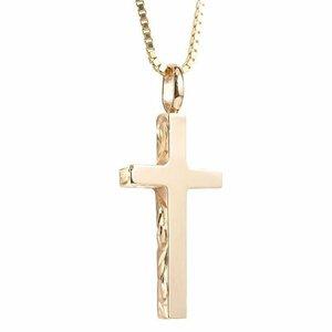 ハワイアンジュエリー ネックレス メンズ ピンクゴールドk10 クロス ペンダントトップ 10金 十字架 スクロール マイレ 男性用 シンプル