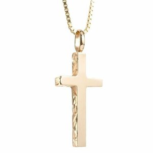 ハワイアンジュエリー ネックレス メンズ ピンクゴールドk18 クロス ペンダントトップ 18金 十字架 スクロール マイレ 男性用 シンプル