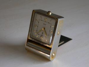 JAEGER alarm clock machine (2 day to coil /7 stone )1950 period SWISS MADE / Vintage Switzerland clock bracket clock travel clock