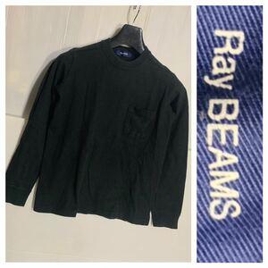 Ray BEAMS ビームス 日本製 肉厚 胸ポケット 長袖 Tシャツ ロンT 黒 ブラック