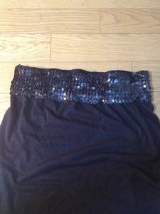 試着のみ 黒スパンコール レディース ベアトップ インナー 衣装 ダンス フリーサイズ(S~Mサイズ)