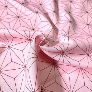 人気の和柄 ピンク麻の葉 鬼滅の刃 ブロード生地 綿100% 100cm×約112cm 送料込み sar004b