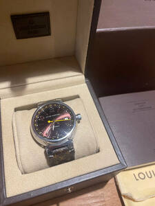 LOUIS VUITTON TAMBOUR ルイ・ヴィトン タンブール GMT AUTOMATIQUE 自動巻き Q11310 メンズ 腕時計 モノグラムベルト 中古