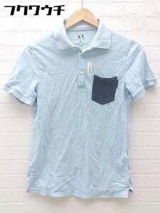 ◇ ARMANI EXCHANGE アルマーニエクスチェンジ 鹿の子 半袖 ポロシャツ XS ライトブルー # ◆ 1000027921172