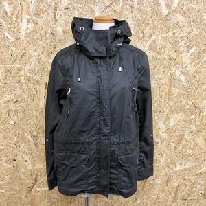 H&M エイチアンドエム 8 レディース ハイネックジャケット フード脱着可 ジップ留め ウエスト内側に紐 長袖 ポリ×綿 ブラック 黒