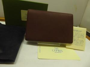 格安新品 キプリス 二つ折名刺入 レーニア・カーフ牛革 赤茶 日本製