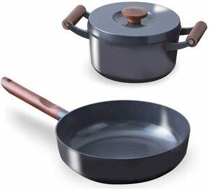新品 送料無料アイリスオーヤマ 深型フライパン 無加水鍋 IH /ガス火対応 「ルオント」 フライパン 鍋 3点 セット ダークグレー LUO-SE3G