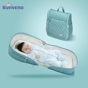 持ち運び便利 折り畳みベビーベッド 新生児 赤ちゃん 旅行用 移動用 ポータブル 多機能ポケット付き 軽量 コンパクト