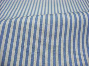 506-806《生地の切売》ロンドンストライプ柄 水色 サックス ポプリン生地 綿100% 112cm幅【50cm単位】