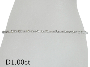 清水屋《送料無料》ダイヤモンド/1.00ct デザイン ブレスレット K18WG【JSP】