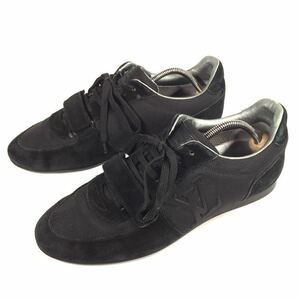 【ルイヴィトン】本物 LOUISVUITTON 靴 26cm 黒色系 LVロゴ スニーカー カジュアルシューズ スエード 男性用 メンズ イタリア製 7