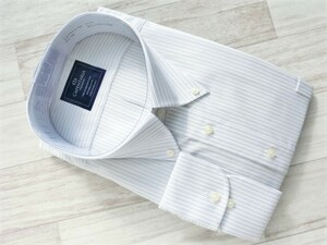 201008.236-2 CAPENTARIA ボタンダウン長袖ドレスシャツ ホワイト ブラックストライプ アジャスタブルカフス 6L(51-90) 形態安定 綿100%