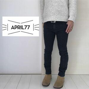 【April77 エイプリル77/ドットスキニーパンツ】ブラック