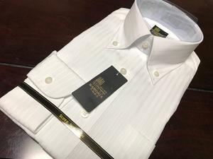 こだわり早稲田屋シャツブランド☆白織柄ワイシャツ M(39-84) ボタンダウン 形態安定 テープ縫製