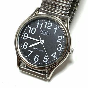 【稼働品】Q&Q Falcon/ファルコン 腕時計 クォーツ ブラック 電池交換済 WATER RESIST 防水 中古 2035
