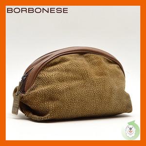 BORBONESE/ボルボネーゼ うずら柄 化粧ポーチ 91907 ベージュ×ブラウン×ゴールド スエード×レザー