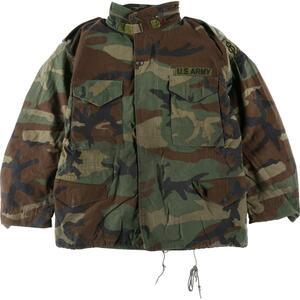 84年納品 米軍実品 U.S.ARMY ウッドランドカモ 迷彩 M-65 ミリタリー フィールドジャケット USA製 MEDIUM-SHORT メンズL /eaa119903
