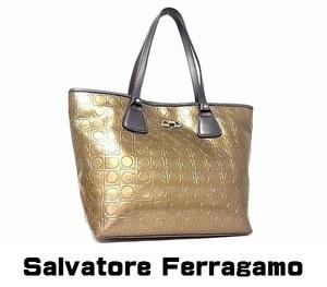 大容量 Salvatore Ferragamo フェラガモ ガンチーニ PVC×レザー トートバッグ ショルダーバッグ