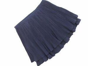 ネコポスOK Ray BEAMS レイビームス プリーツ ミニ スカート size0/紺 ■■ ☆ baa6