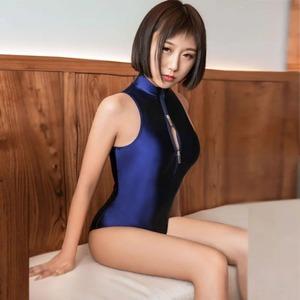最新作 光沢 紺 エロ可愛い超セクシー タイツ風ハイレグ レオタード コスプレ女子高生スクール水着 競泳水着 コスチューム