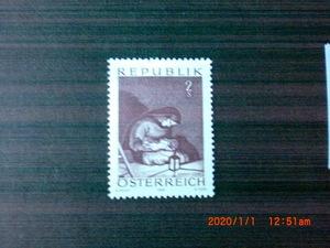 アルビン・エガ―レンツ画「マドンナ」 1種完 未使用 1969年 オーストリア共和国 VF/NH クリスマス切手