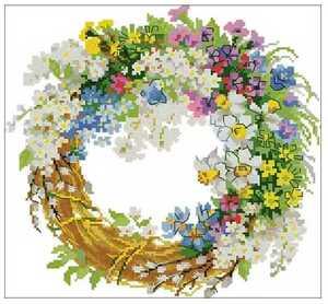 クロスステッチキット 春花の半月リース 31×31cm 刺繍