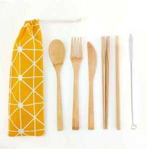カトラリーセット 竹製 収納袋付き 和柄 黄 イエロー ポータブル