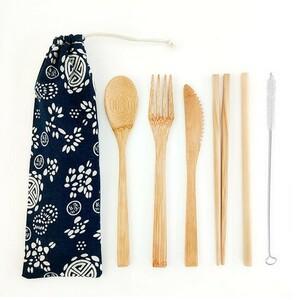 カトラリーセット 竹製 収納袋付き 和柄 ネイビー 紺