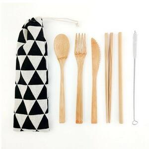 カトラリーセット 竹製 収納袋付き 和柄 鱗紋 黒