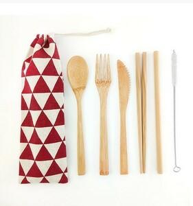 カトラリーセット 竹製 収納袋付き 和柄 鱗紋 赤 レッド
