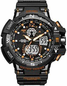 腕時計 メンズ SMAEL腕時計 メンズウォッチ 防水 スポーツウォッチ アナログ表示 デジタル 多機能 ミリタリー ライト時計