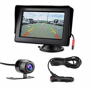 4.3インチLCDモニター バックカメラセット ケーブル一本配線 シガーソケット給電 取り付け超簡単 駐車支援システム 12V車