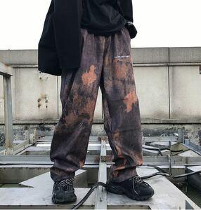 ワイドパンツ タイダイ柄 イージーパンツ ストレートパンツ ワイドレッグパンツ 原宿系 ストリート メンズ レディース オレンジ L XL