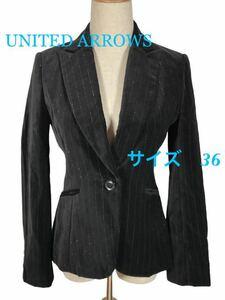 Y388/UNITED ARROWS/ユナイテッドアローズ/ジャケット/テーラードジャケット/M/黒/ブラック/【古着】-Ю