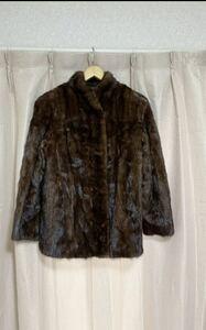 ミンク ファーコート MITSUKOSHI購入 11号 ハーフコート ブラウン 毛皮コート リアルファー ミンクコート