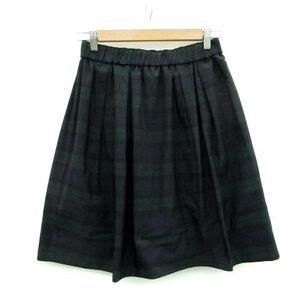 デミルクス ビームス Demi-Luxe BEAMS スカート プリーツ ひざ丈 チェック柄 マルチカラー ネイビー 紺 /MS12 レディース