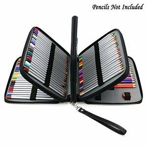 黒 Sumnacon 160本入れ 色鉛筆ケース PUレザーケース ペンシルホルダー 色鉛筆 収納 筆箱 大容量 シンプル ペン