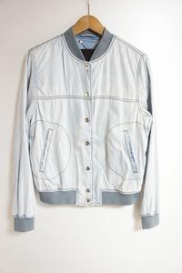 国内正規 DIESEL ディーゼル シャンブレー スタジャン ジャケット ブルゾン レディース 薄青 XS 125L
