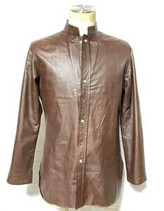 【レア】Y's Youji YAMAMOTO ペーパーレザー 素材 使用 デザイン シャツ ジャケット ヨウジヤマモト ワイズ 牛革 チョコブラウン 男女兼用